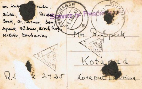 1941 - Ahmednagar-Internement-Postcard