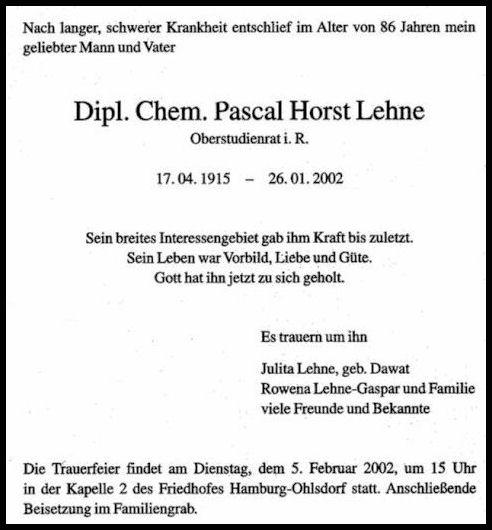Todesanzeige von Pascal Horst Lehne