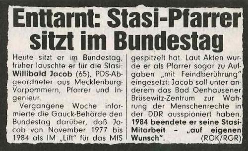 Enttarnt: Stasi Pfarrer sitzt im Bundestag