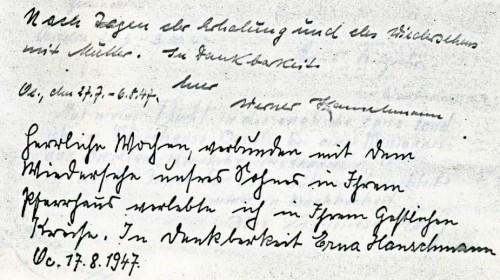 Gästebucheintrag von Werner und Erna Hanschmann in Oesselse 1947