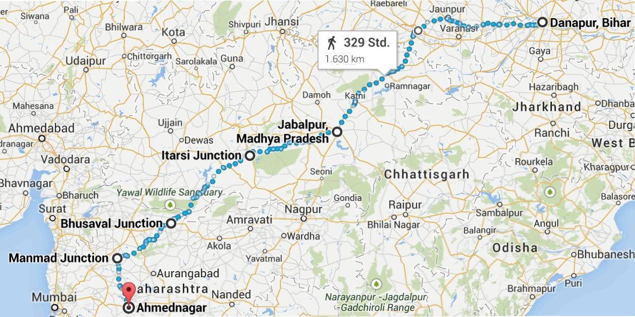 Map from Danapur to Ahmednagar