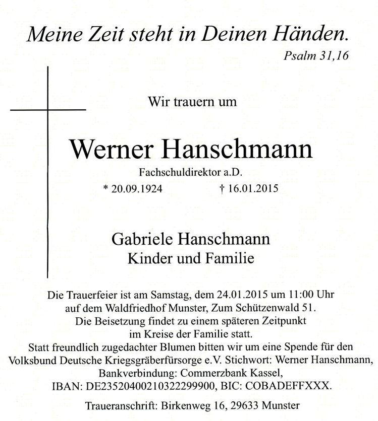 Traueranzeige Werner Hanschmann