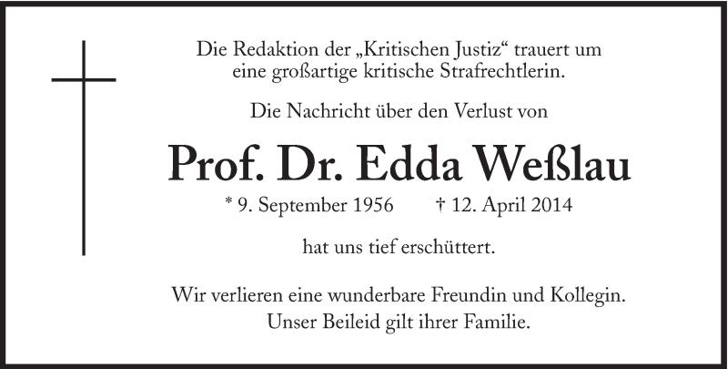 Todesanzeige Edda Weßlau in de Süddeutschen Zeitung